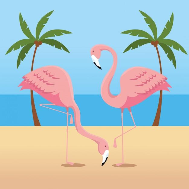 Flamingos tropicais com palmeiras na praia Vetor grátis