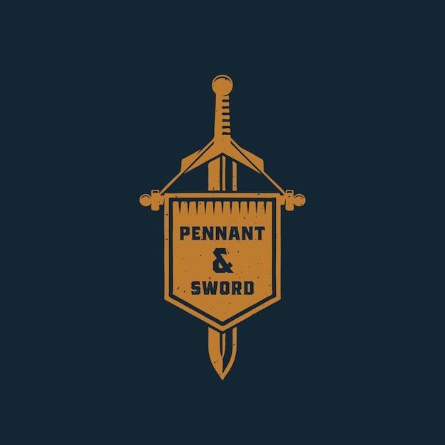 Flâmula e espada abstrata sinal, símbolo ou modelo de logotipo. Vetor grátis