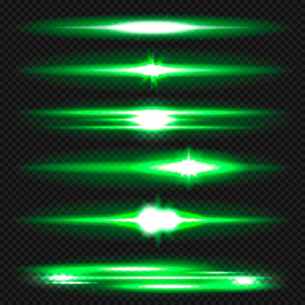 Flares de lente horizontal azul pack. raios laser, raios de luz horizontais. Vetor Premium