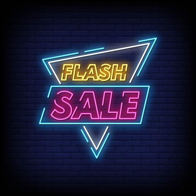 Flash venda sinais de néon estilo texto Vetor Premium