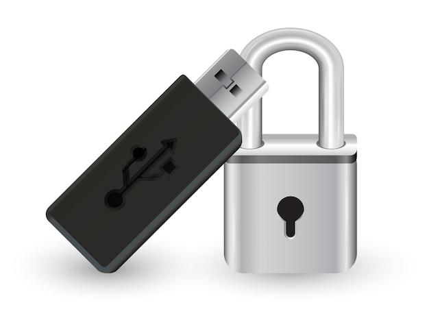 Flashdrive usb com um bloqueio de chave mestra de aço do metal Vetor Premium
