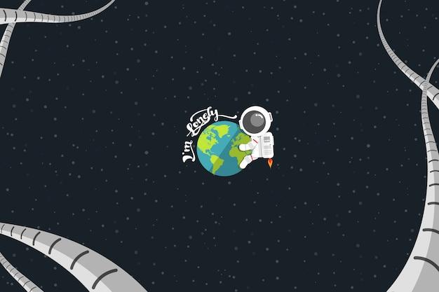 Flat design, astronaut embrace earth com palavra Vetor Premium