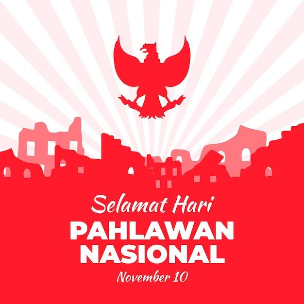 Flat design celebração nasional pahlawan Vetor grátis
