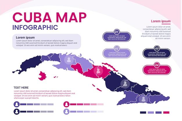 Flat design cuba map infográfico Vetor grátis