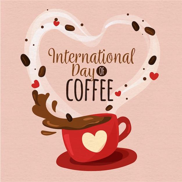 Flat design dia internacional do café Vetor Premium