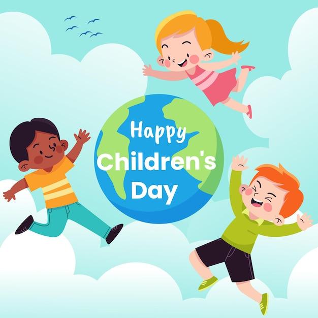 Flat design dia mundial da criança Vetor grátis
