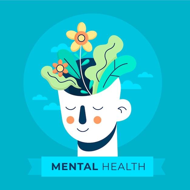 Flat design dia mundial da saúde mental com cabeça e flores Vetor grátis