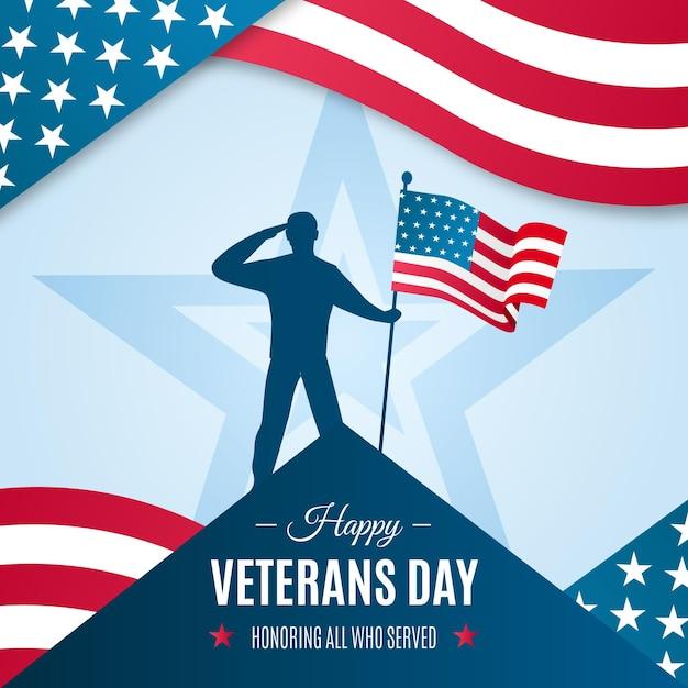 Flat design veterans day event Vetor Premium