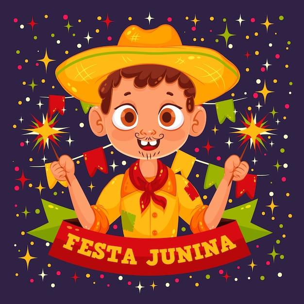 Flat festa junina Vetor grátis