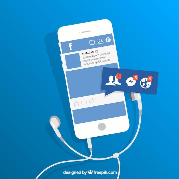 Flat mobile com notificações no facebook Vetor grátis