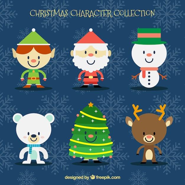 flat pack de caracteres de decoração de natal Vetor grátis
