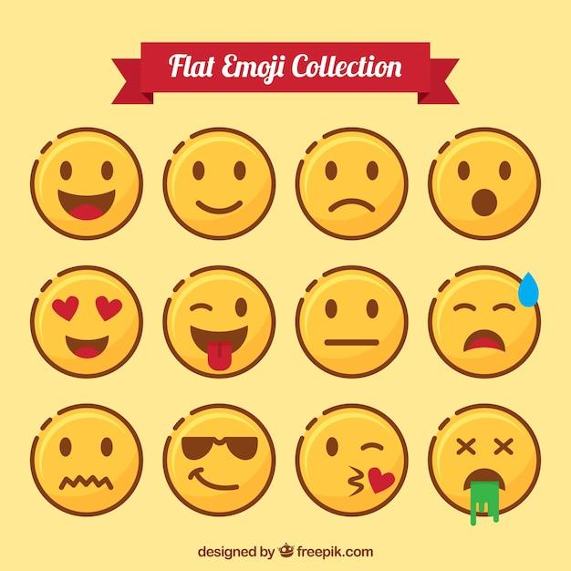 Flat pack de emoticons expressivos Vetor grátis