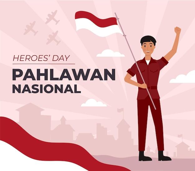 Flat pahlawan / dia dos heróis Vetor grátis