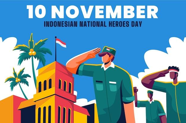 Flat pahlawan / dia dos heróis Vetor Premium