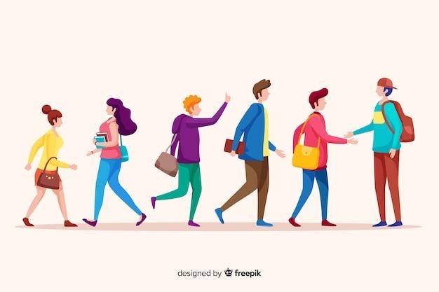 Flat pessoas indo para a universidade Vetor grátis