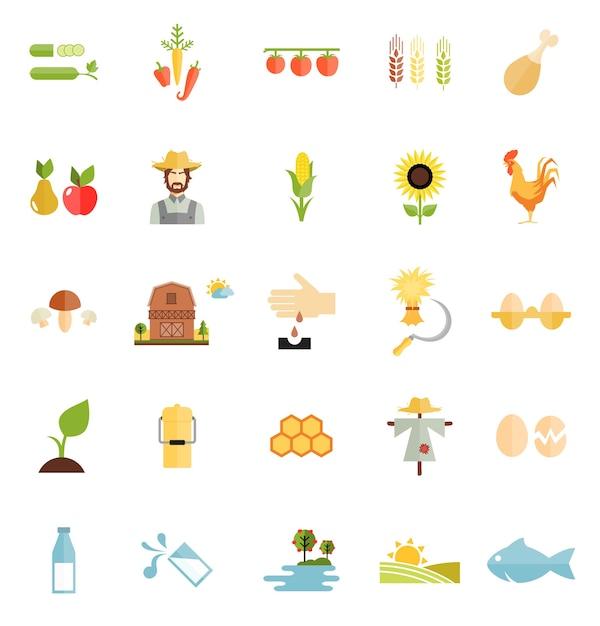 Flat style vector farm organic food icon isolated Vetor grátis