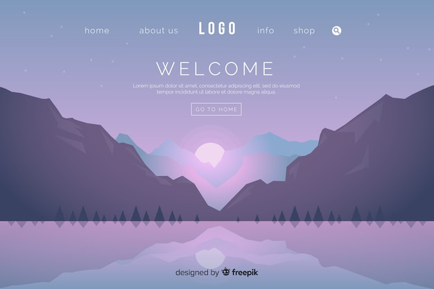 Flat welcome landing page template Vetor grátis