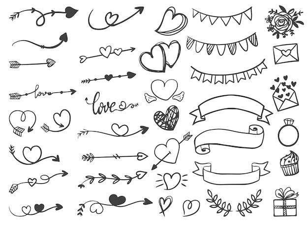 Flechas ornamentais com fitas de dia dos namorados e casamento arte de linha desenhada à mão Vetor grátis