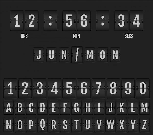 Flip calendário de relógio de mesa e temporizador. Vetor Premium