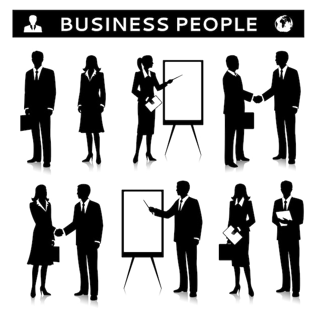 Flipcharts com silhuetas de pessoas de negócios Vetor grátis