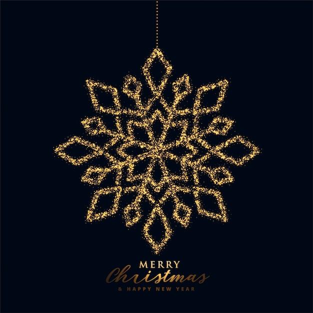 Floco de neve de natal na cor preto e dourado Vetor grátis