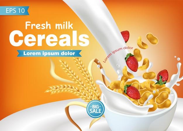 Flocos de milho em leite respingo maquete realista Vetor Premium