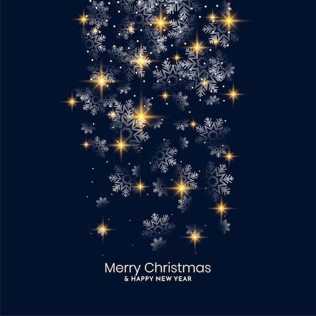 Flocos de neve brilhantes caindo feliz natal design de fundo Vetor grátis