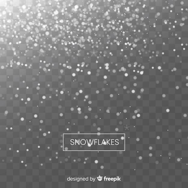 Flocos de neve caindo realista em plano de fundo transparente Vetor grátis