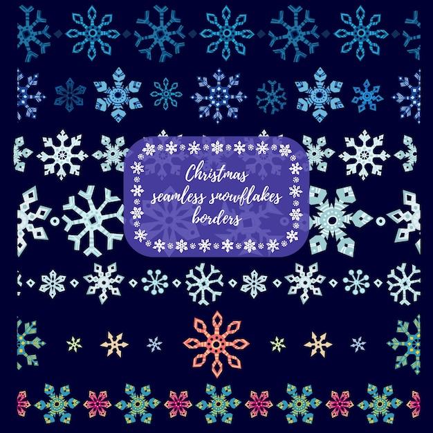 Flocos de neve de christmass divisórias sem costura, fronteiras. ilustração vetorial Vetor Premium
