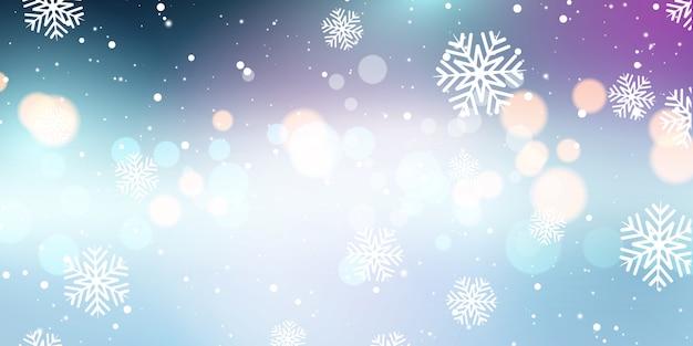 Flocos de neve de natal e banner de luzes de bokeh Vetor grátis