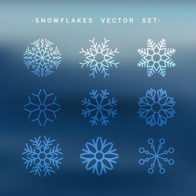 Flocos de neve definir coleção Vetor grátis