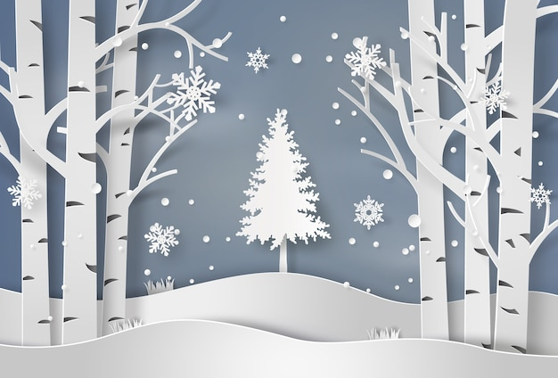 Flocos de neve e árvore de natal Vetor Premium