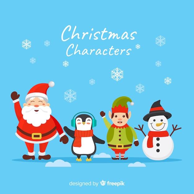 Flocos de neve e coleção de personagens de natal plana Vetor grátis
