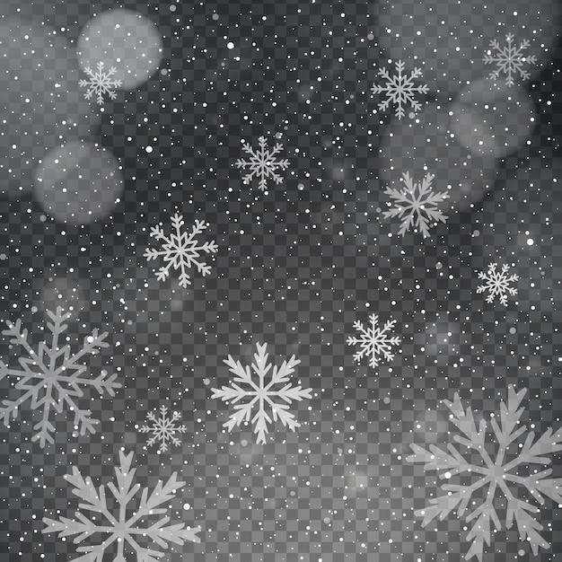 Flocos de neve em um fundo transparente bokeh Vetor grátis