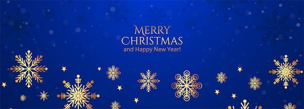 Flocos de neve lindos feliz natal no banner azul Vetor grátis