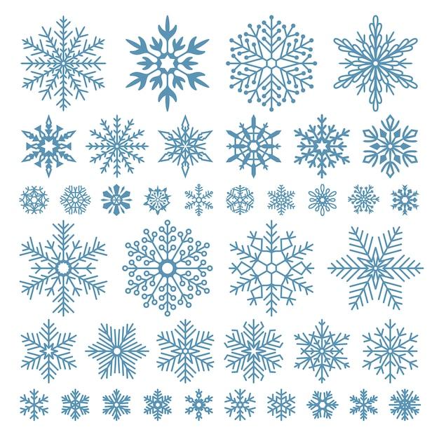 Flocos de neve planos. cristais de floco de neve de inverno, formas de neve de natal e frio fosco Vetor Premium
