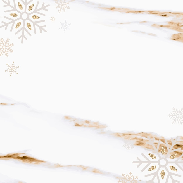 Flocos de neve sobre fundo de mármore, estilo luxo Vetor grátis