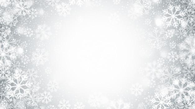 Flocos de neve voando em movimento borrado decoração de natal abstrata em fundo prateado claro Vetor Premium