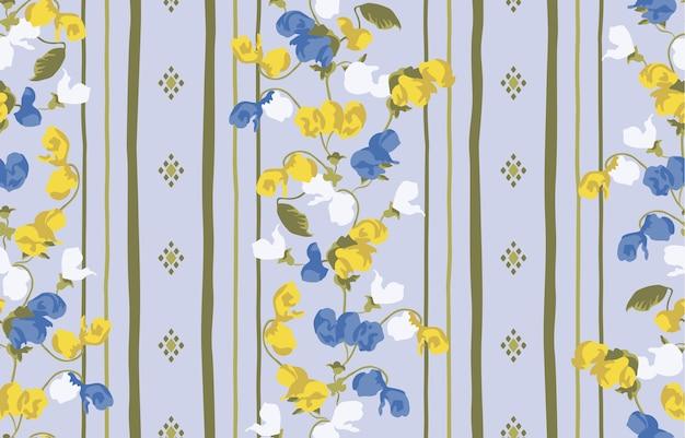 Flor abstrata com fundo geométrico da textura da listra, cópia do teste padrão do projeto. Vetor Premium