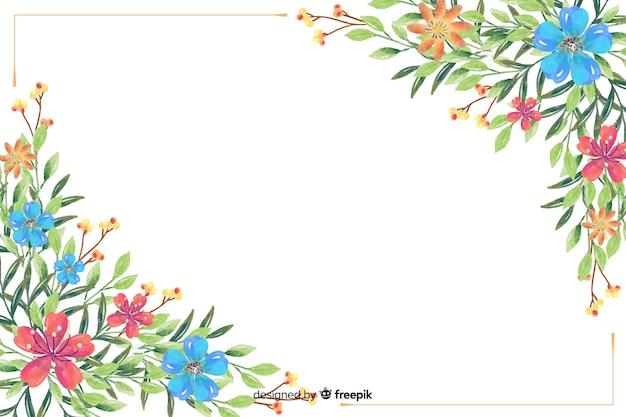 Flor aquarela e folhas de fundo Vetor grátis