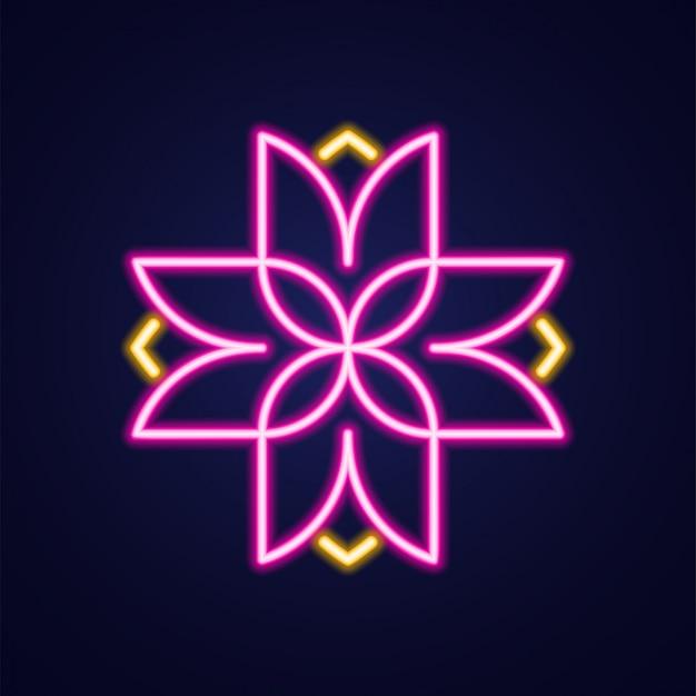 Flor atravessar ícone colorido simples contorno luminoso de néon Vetor Premium