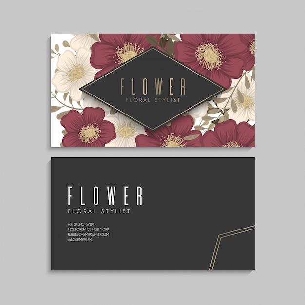 Flor cartões de visita flores vermelhas Vetor Premium