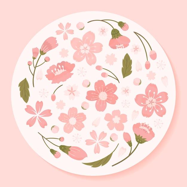 Flor cereja, fundo, ilustração Vetor grátis