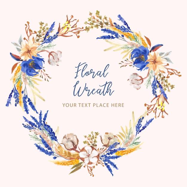 Flor de algodão azul e amarela grinalda Vetor Premium