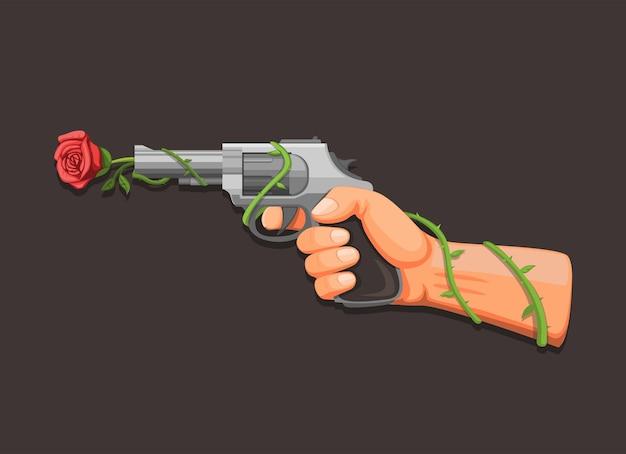 Flor de arma, mão segurando o revólver com conceito de símbolo de rosa em vetor de ilustração de desenho animado em fundo escuro Vetor Premium