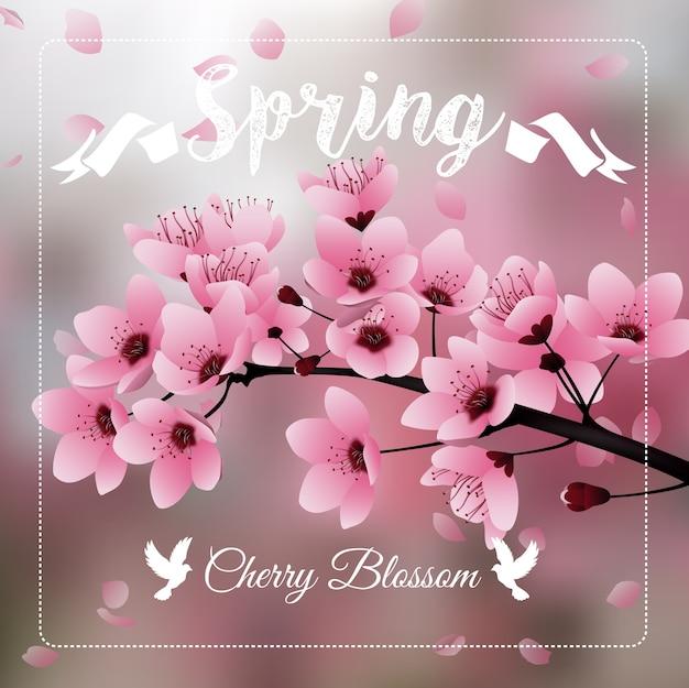 Flor de cerejeira Vetor Premium