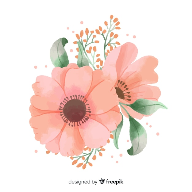 Flor de coral feita em aquarela Vetor grátis