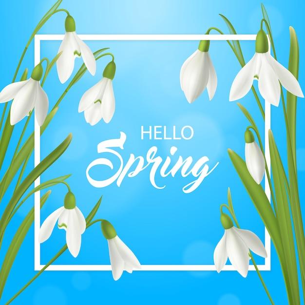 Flor de floco de neve realista olá fundo de cartaz de verão com texto ornamentado de moldura plana e ilustração de flor natural de primavera Vetor grátis