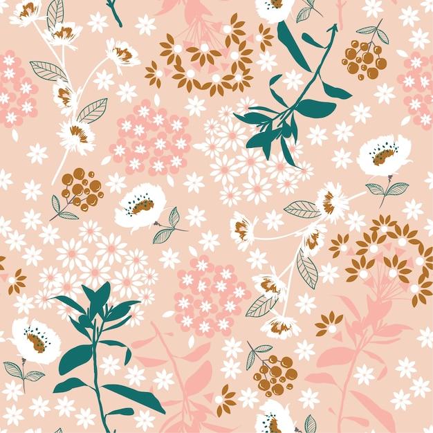 Flor de florescência densa geométrica e folha em rosa Vetor Premium