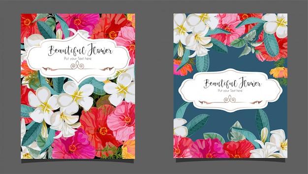Flor de hibisco e plumeria na ilustração de cartão Vetor Premium